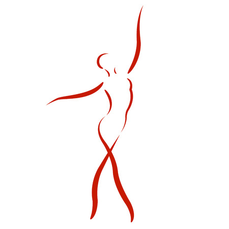Sketched dancing woman isolated on white background. Design template for label, banner or postcard. Vector.