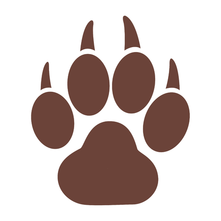 Eenvoudige pictogram van een tijger pootafdruk op een witte achtergrond.