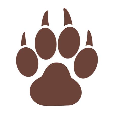 Einfache Ikone der ein Tiger-Tatzen-Druck auf weißem Hintergrund. Illustration