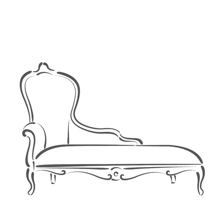 daybed: Sketched sofa couch daybed. Design template for label, banner or postcard. Raster illustration. Stock Photo