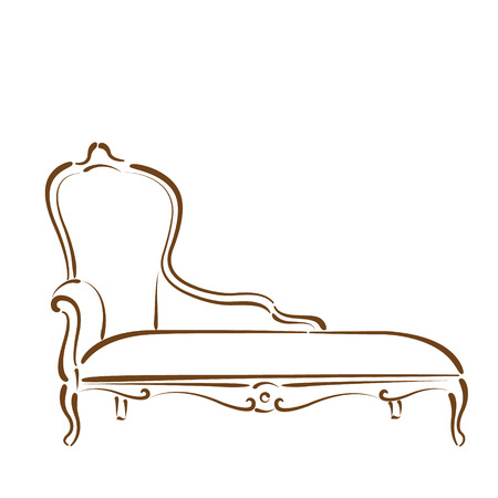 Sketched sofa couch daybed isolated on white background. Design template for label, banner or postcard. Vector. Ilustração
