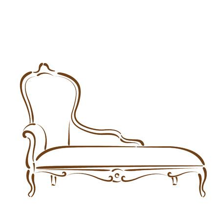 Skizziert Sofa Couch Schlafcouch auf weißem Hintergrund. Design-Vorlage für Etikett, Banner oder Postkarte. Vektor.