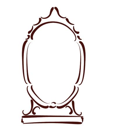 Vintage sketched mirror isolated on white background. Design template for label, banner or postcard. Vector. Illustration