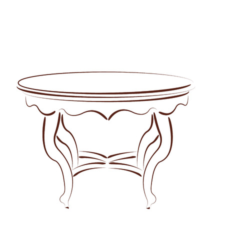 chateau: Sketched cafe table isolated on white background. Design template for label, banner or postcard. Vector.