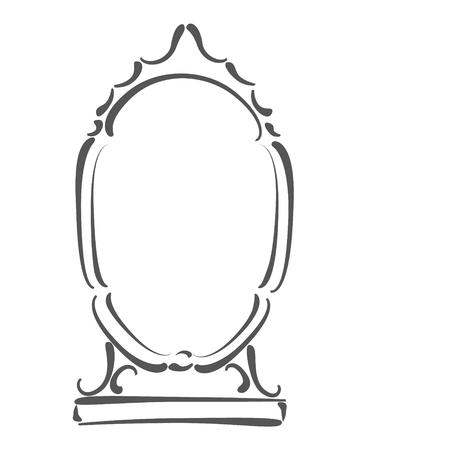 Vintage sketched mirror. Design template for label, banner or postcard. Stock fotó