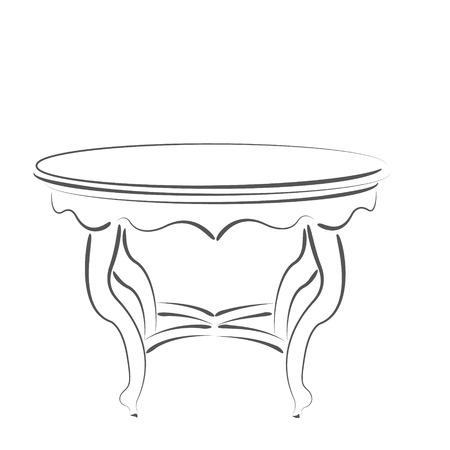 cafe table: Sketched cafe table. Design template for label, banner or postcard. Raster illustration.