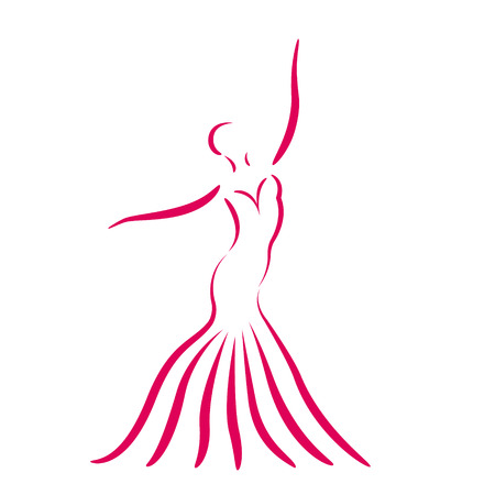 Sketched dancing girl in a long dress isolated on white background. Design template for label, banner, postcard. 일러스트