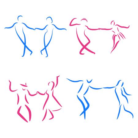 Dancing couple logo set isolated on white background. Swing dance. Vector. Illustration