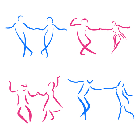 Dancing couple logo set isolated on white background. Swing dance. Vector. Illustration