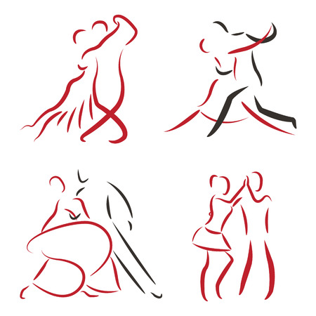 dancing silhouettes: Dancing couple logo set isolated on white background. Tango, waltz and salsa. Vector.