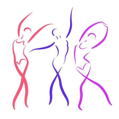 Geschetste dansende meisjes set geïsoleerd op een witte achtergrond. Ontwerp sjabloon voor label, banner, briefkaart. Stockfoto - 45323766