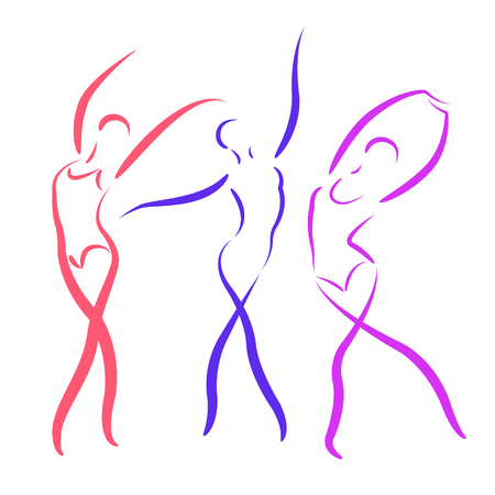 Sketched dancing girls set isolated on white background. Design template for label, banner, postcard. Illustration