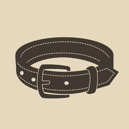 by the collar: Vintage brown dog collar with a buckle.