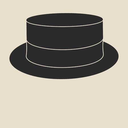 man s: Vintage man s boater hat label. Design template for label, banner, badge, logo. Illustration