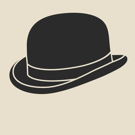 derby hats: Vintage man s bowler hat label. Design template for label, banner, badge, logo. Illustration