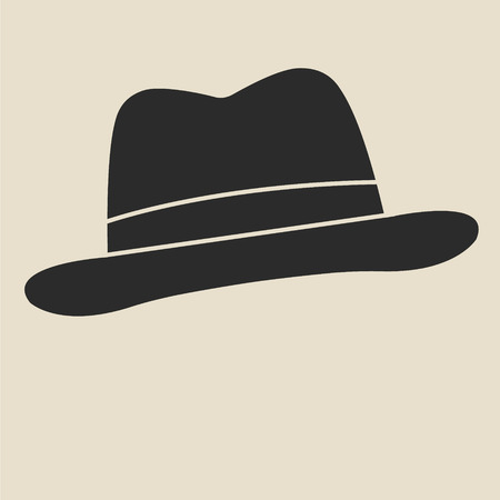 man s: Vintage man s felt hat label. Design template for label, banner, badge, logo.