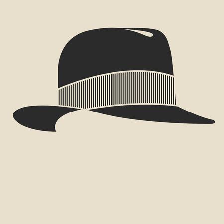 sombrero: Hombre Vintage s sintió etiqueta sombrero. Plantilla de diseño de la etiqueta, bandera, insignia, logotipo.