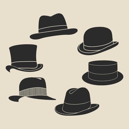 store man: Vintage man s hat label set. Design template for label, banner, badge, logo. Illustration