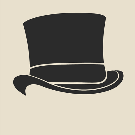 to the top: Vintage man s top hat label. Design template for label, banner, badge, logo.