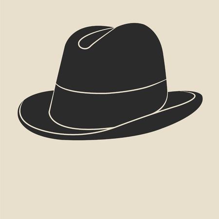 derby hats: Vintage man s tweed hat label. Design template for label, banner, badge, logo.