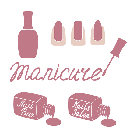 manicura: Etiqueta Salón de manicura aisladas sobre fondo blanco. Plantilla de diseño de etiqueta, bandera, insignia o logo. Vectores