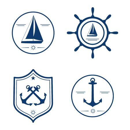 Nautical set isolated on white background anchor yacht wheel nautical set isolated on white background anchor yacht wheel design template for pronofoot35fo Choice Image