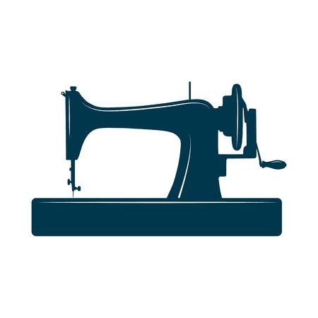 maquinas de coser: M�quina de coser aislada en el fondo blanco. Plantilla de dise�o de la etiqueta, bandera, insignia, logotipo.