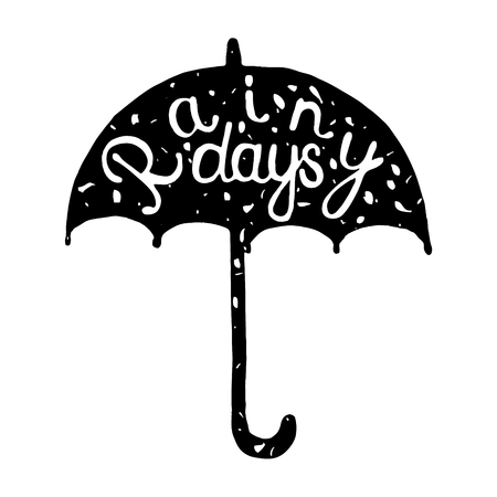 rainy day: Vintage typographic umbrella label isolated on white background. Hand drawn grunge poster.