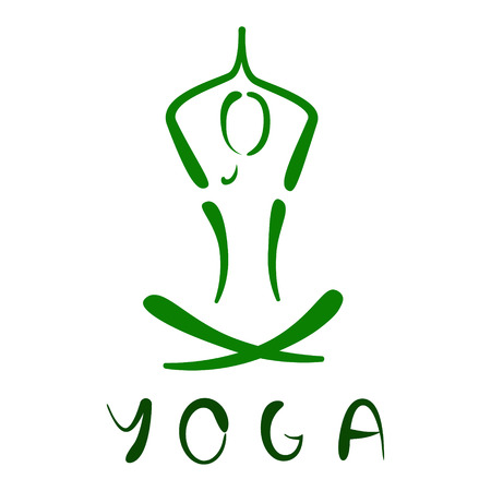 body line: Sketched yoga logo isolated on white background. Design template for label, banner, postcard.