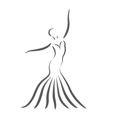 長いドレスを着て踊る女の子をスケッチ。ラベル、バナー、はがきのデザイン テンプレートです。