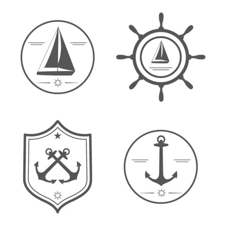 Nautical Set Isolated On White Background. Anchor, Yacht, Wheel ...
