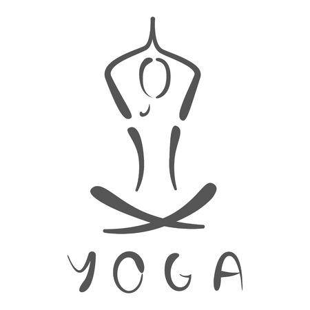 Geschetst yoga logo. Ontwerp sjabloon voor label, banner of briefkaart. Stockfoto