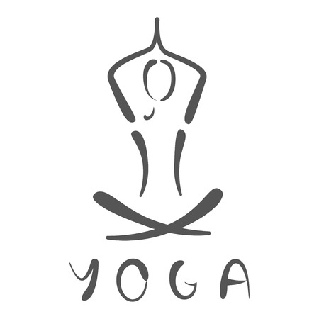Sketched yoga logo. Design template for label, banner or postcard.