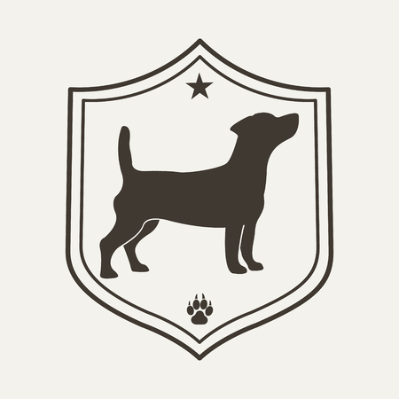 Chien logo de compagnie. Modèle de conception pour l'étiquette, bannière, badge, logo ou blason. Banque d'images - 45326177