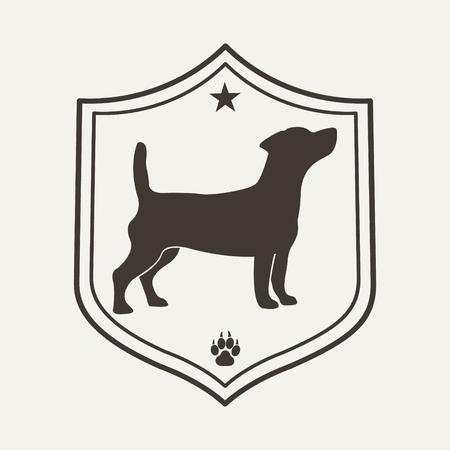 Dog pet logo. Design template for label, banner, badge, logo or coat of arms.