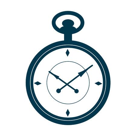 Pocket watch isoliert auf weißem Hintergrund. Design-Vorlage für Etiketten, Abzeichen oder Logo. Vektor. Illustration