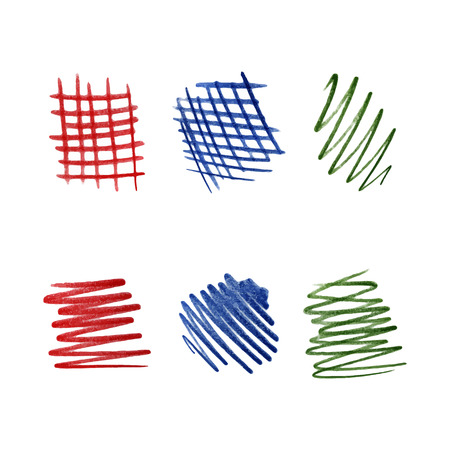scribbles: Color pencil scribbles of red, blue and green isolated on white background. Vector illustration