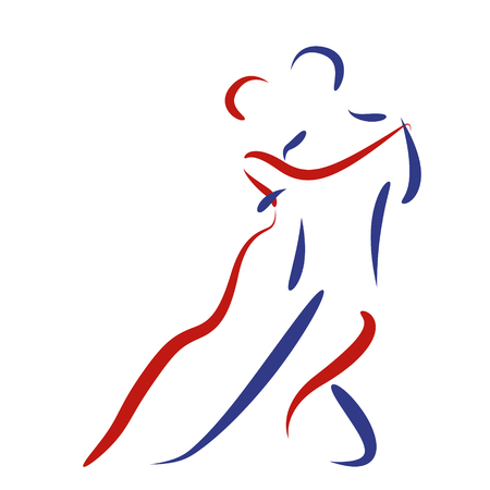 Dancing couple logo isolated on white background. Argentine tango. Vector. Logo