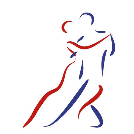 pareja bailando: Pares del baile logotipo aislado en fondo blanco. Tango argentino. Vector.