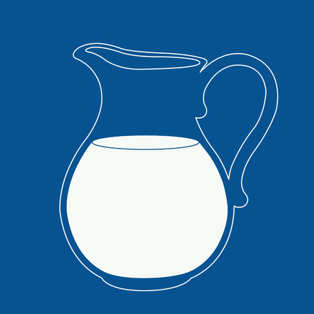 mleka: Logo mleka w kolorze niebieskim i białym. Dzban na mleko. Szablon na etykiecie, transparent, znaczek, logo. Wektor.