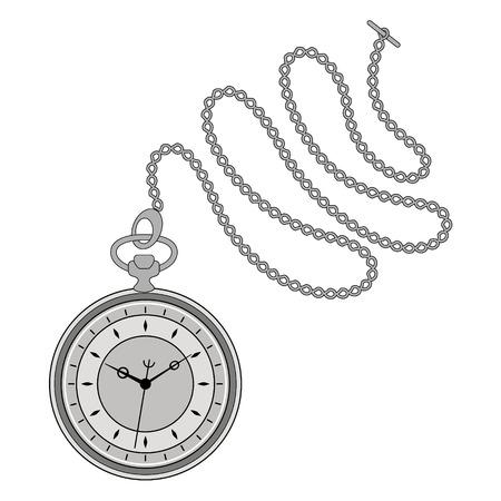 Reloj de bolsillo con cadena aislada en el fondo blanco. plantilla de diseño de la etiqueta, bandera, insignia, logotipo. Vector. Foto de archivo - 49170053