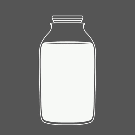 juice bottle: Milk or juice logo in a blue and white. Milk or juice bottle. Design template for label, banner, badge, logo.