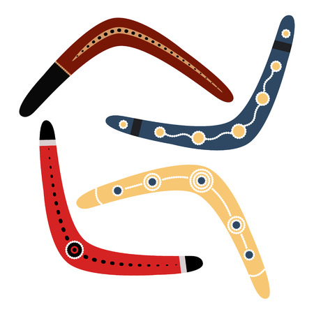 wooden boomerang: Set of three boomerangs isolated on white background.