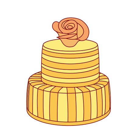 wedding cake isolated: Vintage wedding cake isolated on white background. Design template for label, banner, badge Illustration