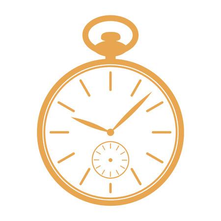 orologi antichi: Icona dorata orologio da tasca isolato su sfondo bianco. modello di progettazione per l'etichetta, bandiera Vettoriali