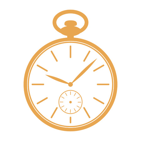 Golden pocket watch icon isolated on white background. Design template for label, banner