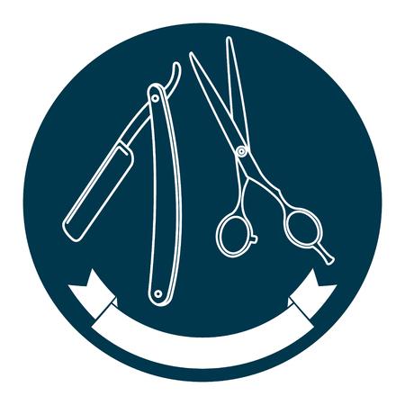 razor blade: Razor blade, scissors and ribbon isolated on white background.