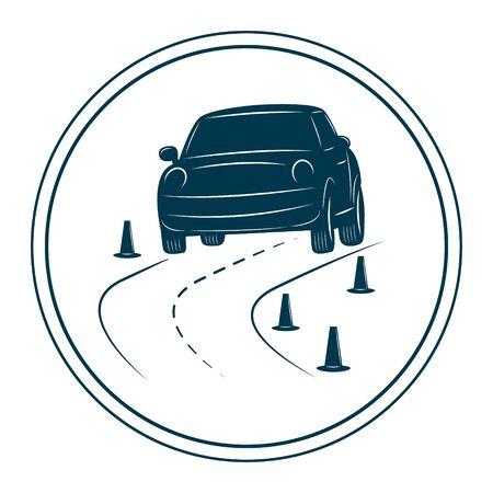 manejando: Conducir plantilla de la escuela aislado en el fondo blanco. Coche en un camino. Vectores