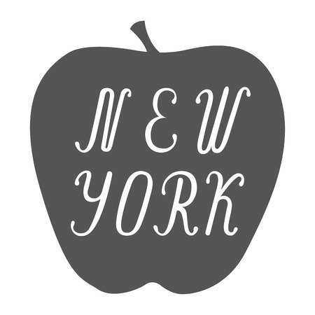 big apple: New York lettering on a big apple isolated on white background. Design template for a postcard, poster, banner.