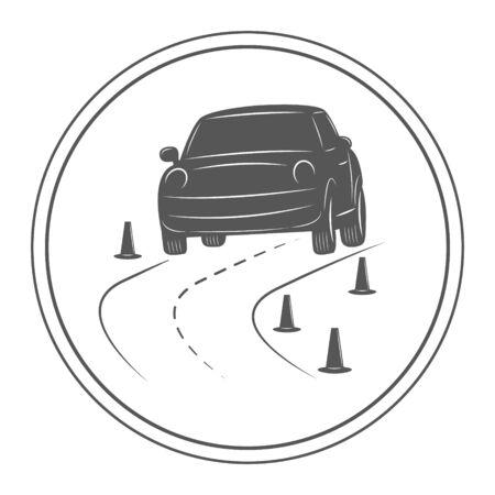 白い背景に分離された学校テンプレートを運転します。道路上の車。 写真素材 - 49870118